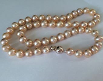 Stunning genuine freshwater pearl & 925 sterling silver necklace 7-8 mm peach/gold 42cm