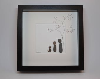Pebble Art Couple and Dog, Pebbleart Featuring a Tree and Dog, Contemporary Pebble Artwork