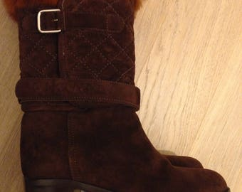 CHANEL Vintage Brown Suede Boots with fur  37 size