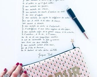Clutch with wrist strap, Scandinavian pattern, golden letters pink love