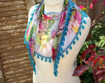 Boho Chiffon Scarf, Floral Scarf, Beaded, Fringed Crochet edge Bohemian Scarf