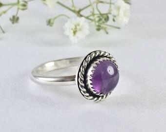 Amethyst Twist Ring // Sterling Silver Ring // Natural Gemstone Ring // Handmade Jewelry // February Birthstone
