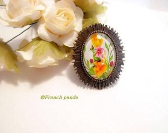 "Beautiful bronze Adjustable ring, cabochon ""flowers"""