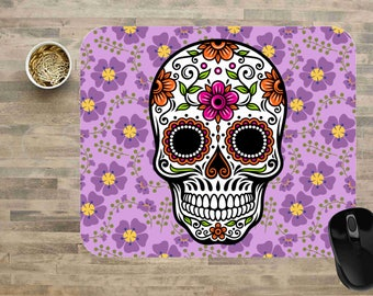 Sugar Skull Mouse Pad, Sugar Skull Rectangle Mouse Pad, Day of the Dead Mouse Pad, Sugar Skull Computer Mouse Pads, Cute Mouse Pads.