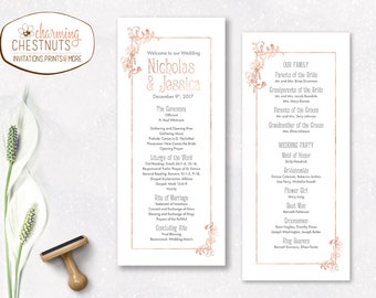 Rose Gold Wedding Program, Printable Program, Rose gold ceremony program, Rose gold wedding stationery, wedding program, Rose gold wedding