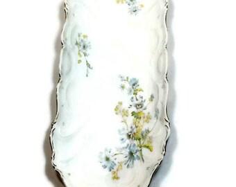 VINTAGE BLUE & WHITE Dish Shabby Chic Bon Bon Small Platter Bread Plate Celery Tray