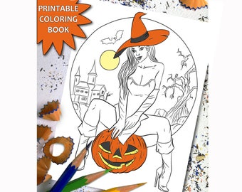halloween adult coloring book sexy girl printable adult coloring book page sexy witch download - Sexy Coloring Book