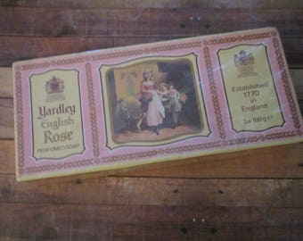 Yardley English Rose Fine Soap Three Soaps in Box  (1980s)