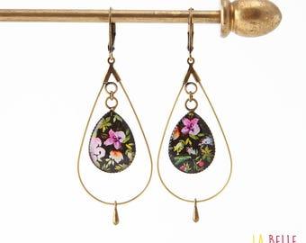 drop hoop earrings resin floral black background