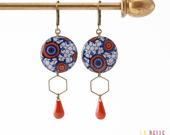 Resinees earrings round Hexagon pattern wax