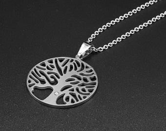 Man necklace Tree of Life - Stainless Steel - Men Jewelry - Man Gift -
