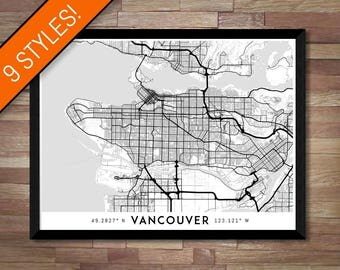 Every Road in Vancouver map art | Printable Canada map print, Vancouver print, Vancouver poster, Vancouver art, Vancouver wall art, BC map