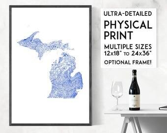 Waterways of Michigan print | Physical Michigan map print, Michigan poster, Michigan wall art, Michigan map art, Michigan art, Detroit map