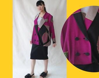 Vintage Japanese Print Jacket Dress • Retro Leaf Print Design Top • Kimono Inspired Double Breast Tailored Jacket Dress • M Medium L Large