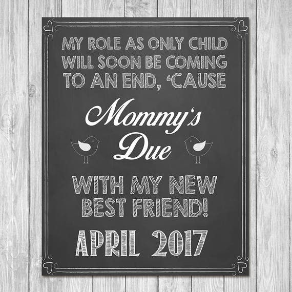 Pregnancy Announcement Sign - Mommy's Due with My New Best Friend - Sibling Announcement Sign - Expecting Sign - Photo Prop Pregnancy Sign