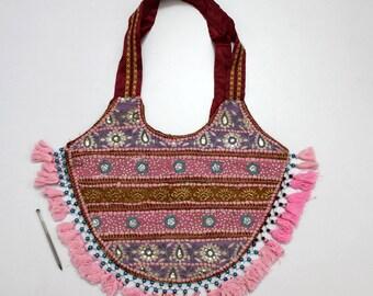 Handmade Ethnic Designer Tribal Banjara Patchwork Embroidered Hippy Fashionable Stylish Trendy Hippie Gypsy Boho Bohemian Shopper Bag F158