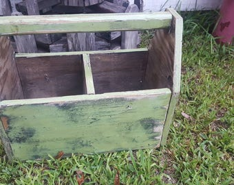 Large Vintage Wooden Tool Caddy