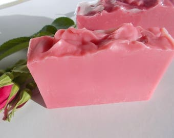 Rose Soap - Artisan, Cold Process, Olive Oil, Organic Sunflower Oil, Australian Red Reef Clay - Vegan, Handmade - Gift for Her