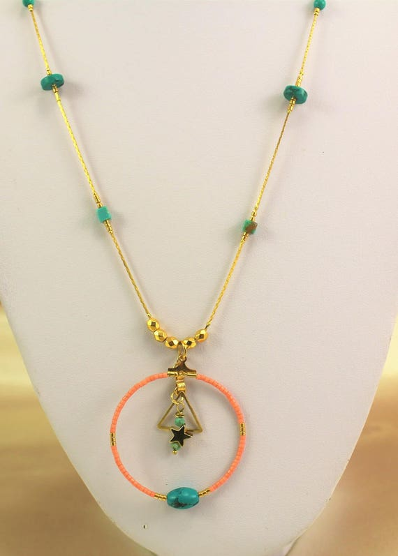 gold plated necklace boho chic semi-precious turquoise beads and seed beads