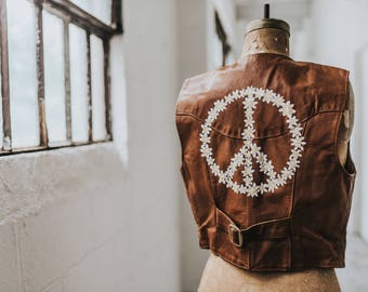 Vintage Frye Leather Vest with Hand-Painted Daisy Peace Sign
