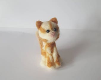 Cute needle felted ginger tabby  cat