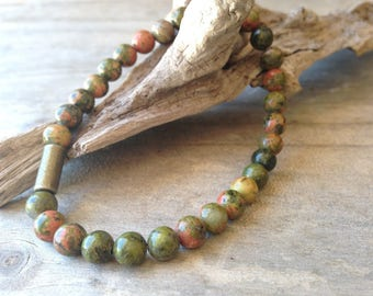 Natural UNAKITE gemstone bracelet