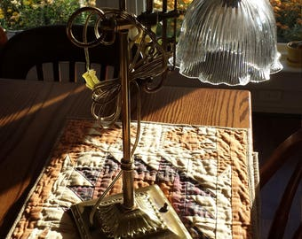 Vintage Square Base  Brass Post Table Lamp