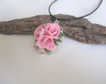 Pendant with cherry-Necklace with sakura-Cherry blossom necklace-pink flower pendant-sakura jewelry-flower necklace