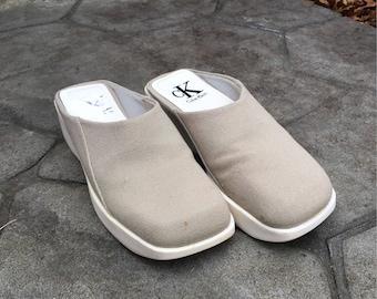 90s Calvin Klein Gray White Canvas Foam Clog Sandals - Women's 6.5