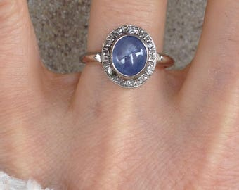 Reserved for MS: Vintage Antique Art Deco Star Sapphire Diamond 14k White Gold Ring