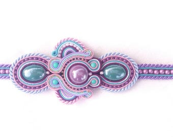 Purple-blue-rose soutache bracelet
