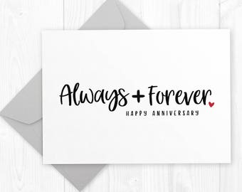 Happy Wedding Anniversary printable card for husband, wife or partner - Always and Forever - romantic first anniversary card for him or her