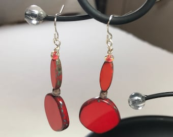 Czech Coin Bead Dangle Earrings in Cadmium Red and Orange