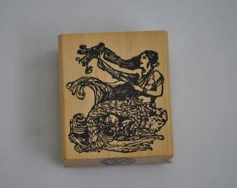 Mermaid  Rubber Stamp  By Asya Graphics   Vintage