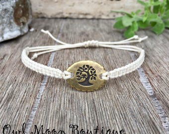Macrame Bracelet With Bird in Tree Connector Ivory