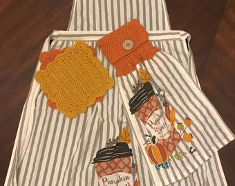 Pumpkin Spice Apron with Kitchen Towel and Dishcloths