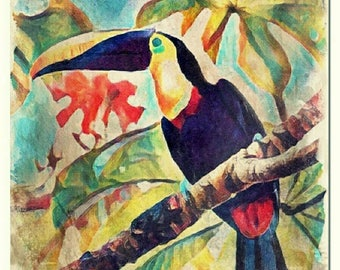 Tucano watercolor painting art print