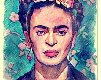 Viva Frida watercolor painting art print
