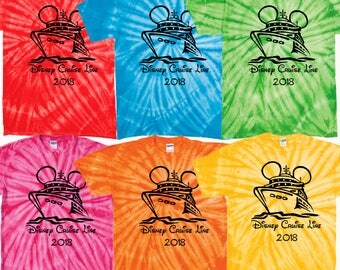Walt Disney World Matching tie dye tshirt tee cruise line castaway cay family vacation star wars day at sea fantasy magic dream wonder epcot
