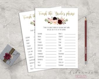 Marsala Printable Finish the Brides Phrase Bridal Shower Game Floral Quiz Burgundy Pink Peonies Flowers Wedding Trivia Bridal Quiz - BG018