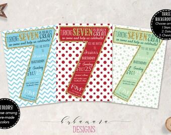 Kids 7th Birthday Invitation Number Seven Birthday Invite Dots Chevron Stars Invite Glitter Seventh Children Birthday Invitation - KB014