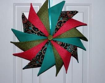 Pinwheel Fabric Wreath - Folded Fabric Wreath - Handmade Wreath - Home Decor - Door Hanging - Wedding Gift - Housewarming Gift - Wreath