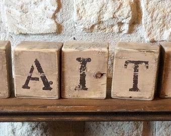 FAITH Rustic Wood Blocks-FAITH Rustic Home Decor-FAITH House Warming Gift