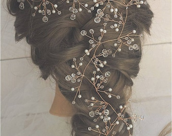 Rose gold vine prom hair accessories hair Crystal Headband hair piece wedding hair bridal hair vine wedding wreath Bridal Crystal wreath