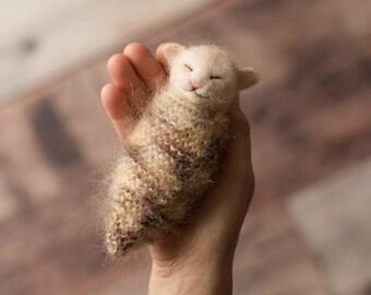 New born baby photo prop, photo prop, The Woolly Cradle, needle felted kitten, sleeping kitten, podling, ooak, Woolly Felters, Judy Balchin