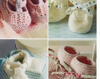 DMC Knitting Collection Pattern , Baby Bootees and Shoes, baby clothing knitting pattern, DMC baby pattern, knitting pattern