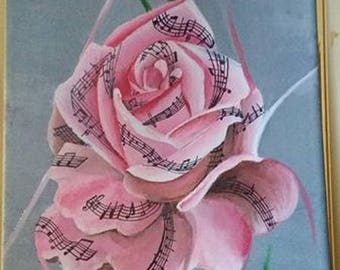 A Symphony rose on gray background