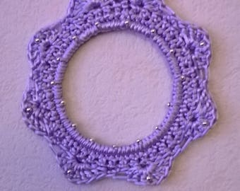 Crocheted purple flower frame