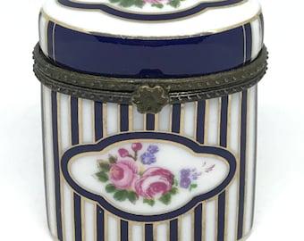 Vintage Navy and White Striped Floral Trinket Box by Porcelain Art, French Trinket Box, Porcelain Pill Box, Floral Pill Box, Keepsake Box
