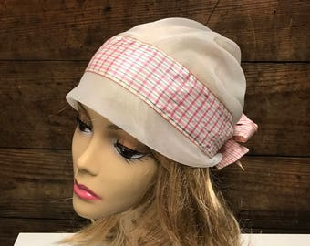 Vintage Saks 5th Avenue Turban Satin Hat by Frank Olive, Off White Satin Turban Style Hat with Back Bow and Satin Flowers, Pink Plaid Band
